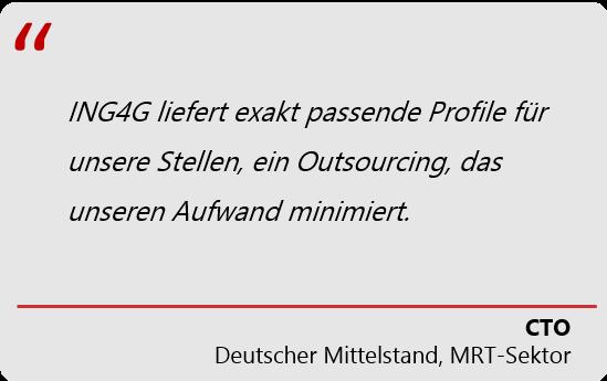 ING4G Outsourcing minimiert Aufwand